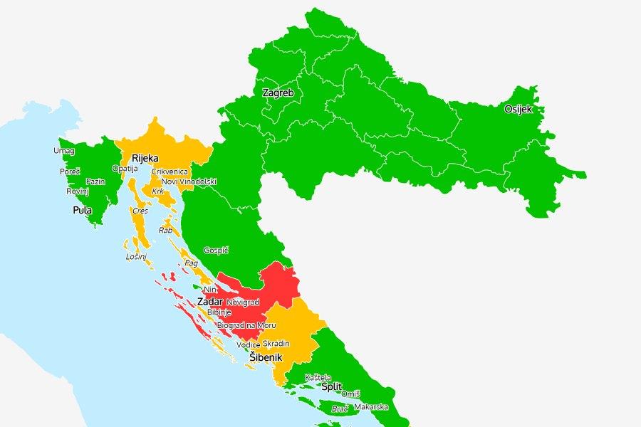 Koronavírus: Zadar régió vörös lett, az osztrákok már figyelmeztetnek